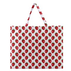 Fresh Bright Red Strawberries on White Pattern Zipper Large Tote Bag