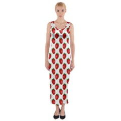 Fresh Bright Red Strawberries on White Pattern Fitted Maxi Dress