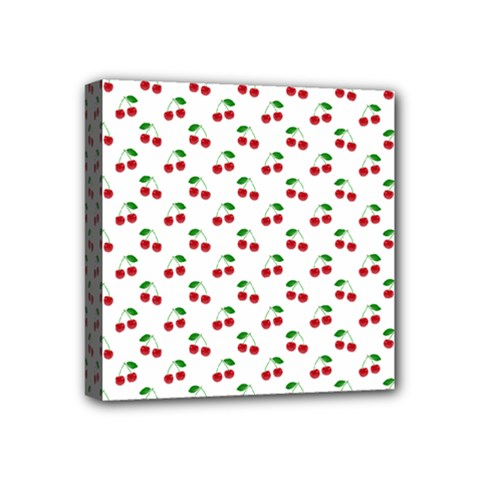 Natural Bright Red Cherries on White Pattern Mini Canvas 4  x 4