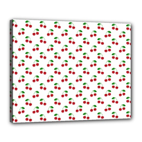 Natural Bright Red Cherries on White Pattern Canvas 20  x 16