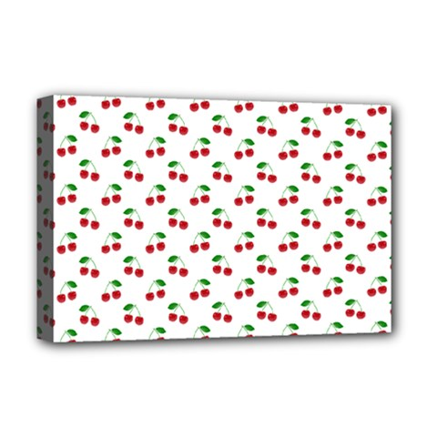 Natural Bright Red Cherries on White Pattern Deluxe Canvas 18  x 12