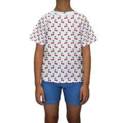 Natural Bright Red Cherries on White Pattern Kids  Short Sleeve Swimwear