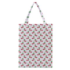 Natural Bright Red Cherries on White Pattern Classic Tote Bag