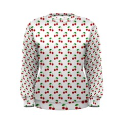 Natural Bright Red Cherries on White Pattern Women s Sweatshirt
