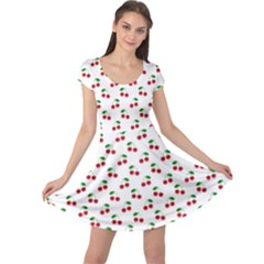 Natural Bright Red Cherries on White Pattern Cap Sleeve Dresses