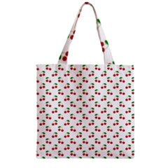 Natural Bright Red Cherries on White Pattern Zipper Grocery Tote Bag