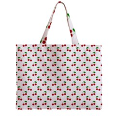 Natural Bright Red Cherries on White Pattern Zipper Mini Tote Bag