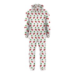 Natural Bright Red Cherries on White Pattern Hooded Jumpsuit (Kids)