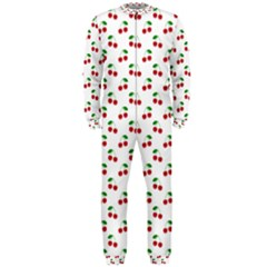 Natural Bright Red Cherries On White Pattern Onepiece Jumpsuit (men)
