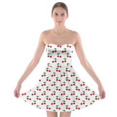 Natural Bright Red Cherries on White Pattern Strapless Bra Top Dress