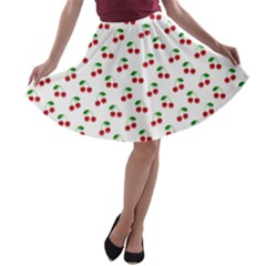 Natural Bright Red Cherries on White Pattern A-line Skater Skirt
