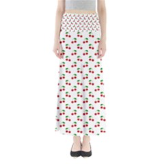 Natural Bright Red Cherries on White Pattern Maxi Skirts