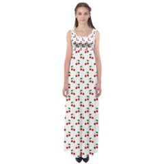 Natural Bright Red Cherries On White Pattern Empire Waist Maxi Dress