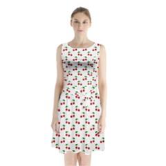Natural Bright Red Cherries on White Pattern Sleeveless Waist Tie Chiffon Dress