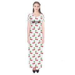 Natural Bright Red Cherries on White Pattern Short Sleeve Maxi Dress