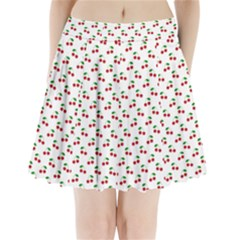 Natural Bright Red Cherries on White Pattern Pleated Mini Skirt