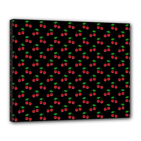Natural Bright Red Cherries on Black Pattern Canvas 20  x 16