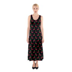 Natural Bright Red Cherries on Black Pattern Sleeveless Maxi Dress