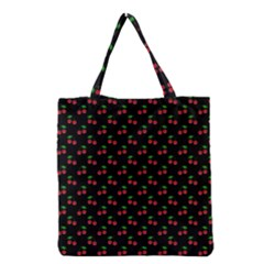 Natural Bright Red Cherries on Black Pattern Grocery Tote Bag