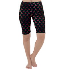 Natural Bright Red Cherries on Black Pattern Cropped Leggings