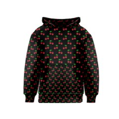 Natural Bright Red Cherries on Black Pattern Kids  Pullover Hoodie