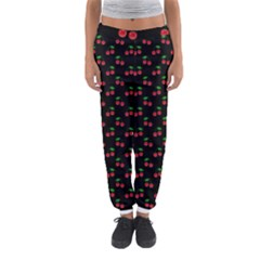 Natural Bright Red Cherries on Black Pattern Women s Jogger Sweatpants