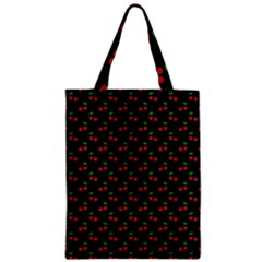 Natural Bright Red Cherries on Black Pattern Zipper Classic Tote Bag