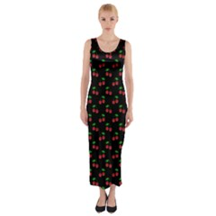Natural Bright Red Cherries on Black Pattern Fitted Maxi Dress