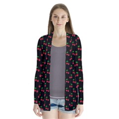 Natural Bright Red Cherries on Black Pattern Cardigans