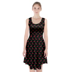 Natural Bright Red Cherries on Black Pattern Racerback Midi Dress