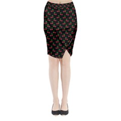 Natural Bright Red Cherries on Black Pattern Midi Wrap Pencil Skirt