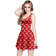 White Cherries On White Red Reversible Sleeveless Dress
