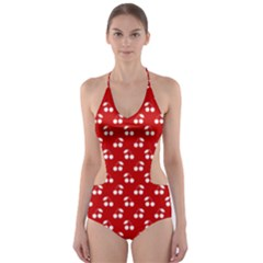 White Cherries On White Red Cut-Out One Piece Swimsuit