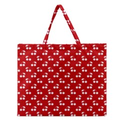 White Cherries On White Red Zipper Large Tote Bag