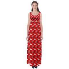 White Cherries On White Red Empire Waist Maxi Dress