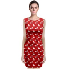 White Cherries On White Red Classic Sleeveless Midi Dress