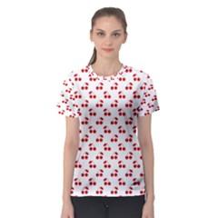 Red Cherries On White Pattern   Women s Sport Mesh Tee