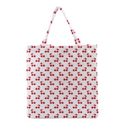 Red Cherries On White Pattern   Grocery Tote Bag