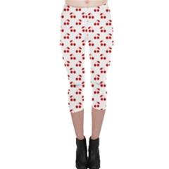 Red Cherries On White Pattern   Capri Leggings