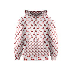 Red Cherries On White Pattern   Kids  Zipper Hoodie