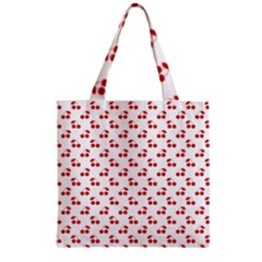 Red Cherries On White Pattern   Zipper Grocery Tote Bag