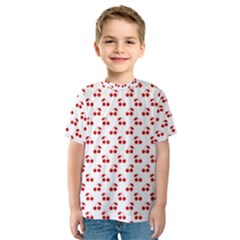 Red Cherries On White Pattern   Kids  Sport Mesh Tee