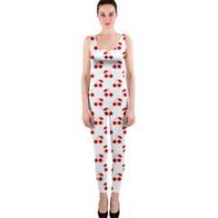 Red Cherries On White Pattern   OnePiece Catsuit