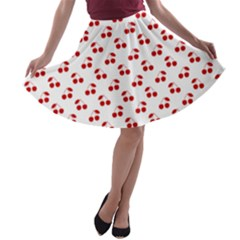 Red Cherries On White Pattern   A-line Skater Skirt