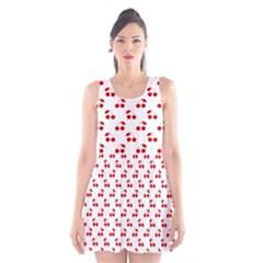 Red Cherries On White Pattern   Scoop Neck Skater Dress
