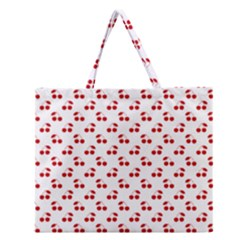 Red Cherries On White Pattern   Zipper Large Tote Bag