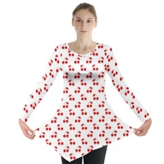Red Cherries On White Pattern   Long Sleeve Tunic