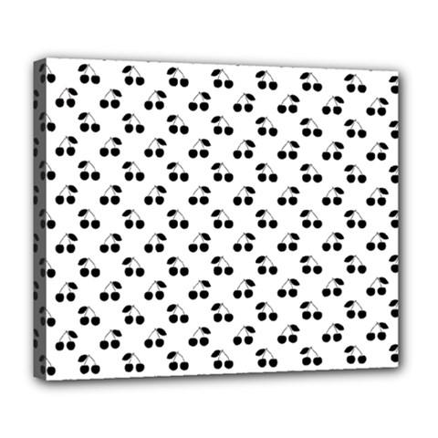 Black Cherries On White  Deluxe Canvas 24  x 20