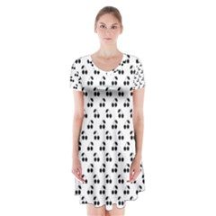 Black Cherries On White  Short Sleeve V-neck Flare Dress