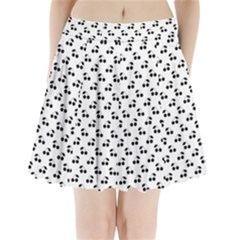 Black Cherries On White  Pleated Mini Skirt